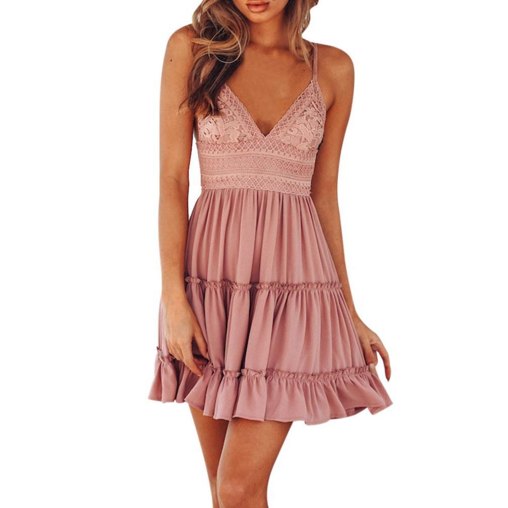Women Summer Dress TOOPOOT Backless Beach Sleeveless Beach Sundress Lace Solid Mini Dress (S, Pink)