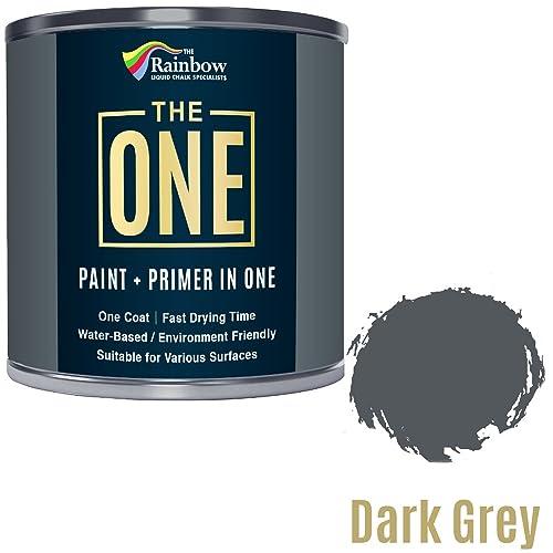 Une Peinture, un manteau, Multi Surface Peinture pour bois, métal, plastique, intérieur, extérieur, gris foncé, mat, 250ml