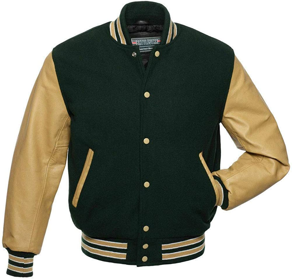 FOREST GREEN SATIN Varsity Letterman Bomber BASEBALL Jacket* GREEN /& WHITE RIB