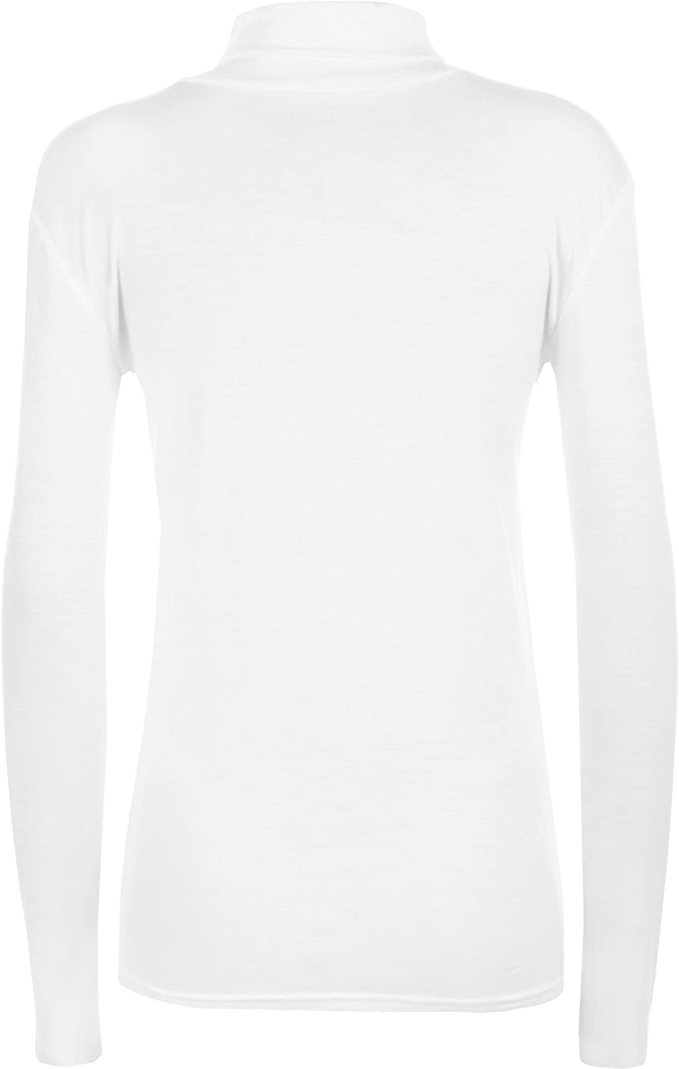 WearAll New Ladies Polo Neck Stretch Long Sleeve Womens Plain Top Jumper 8-14 White