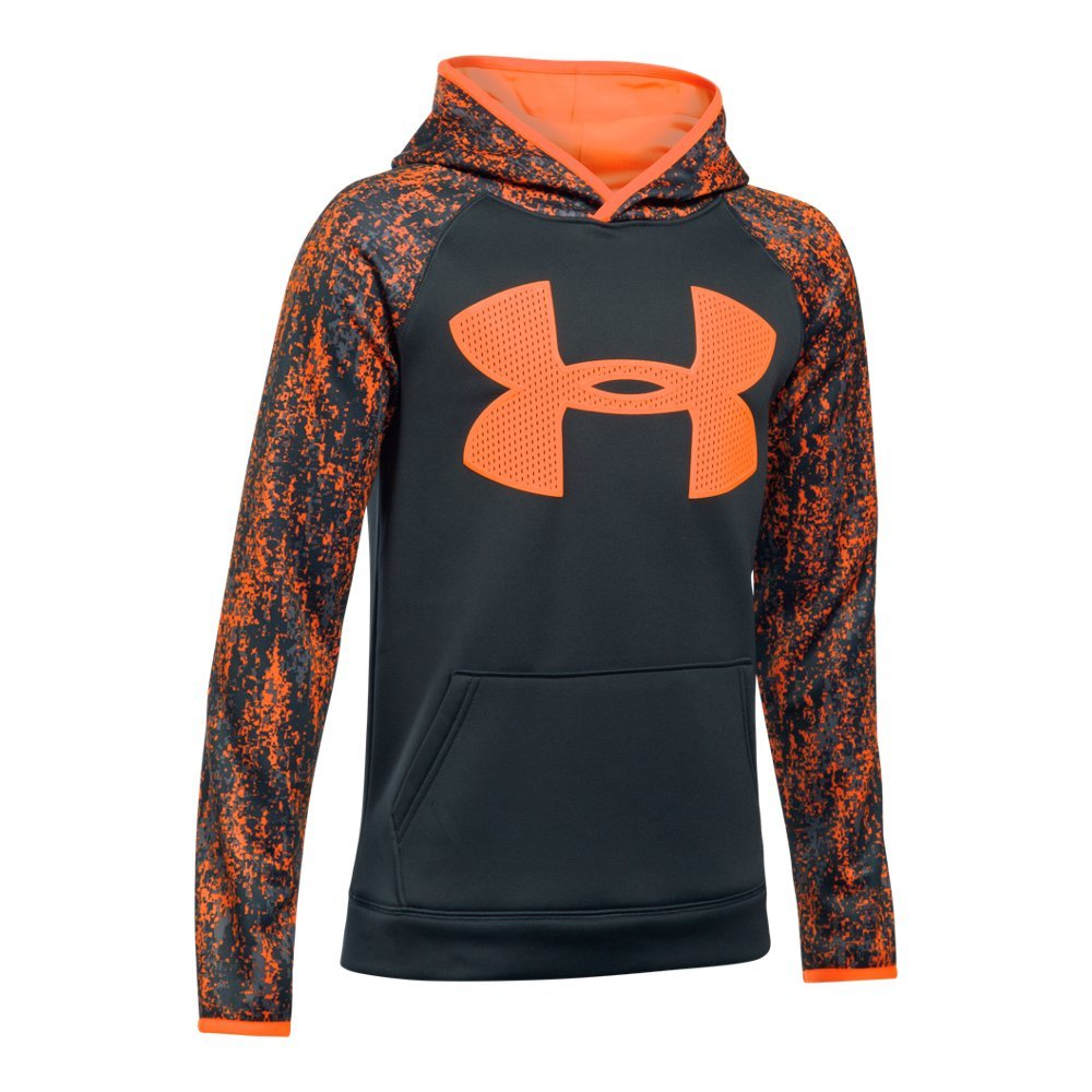 Under Armour Boys' Storm Armour Fleece Big Logo Printed Hoodie,Anthracite (016)/Magma Orange, Youth X-Small