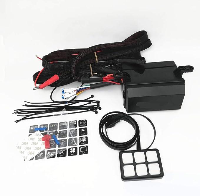 6 Gang Switch Panel+Wiring Harness Kit Relay Control Box Car Boat Marine 12V 24V