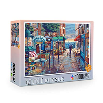 Yuema Quiet Street Puzzle 1000 Piece Jigsaw Puzzle Town in The Rain Rainy Street for Adults Kids Time Consuming: Toys & Games