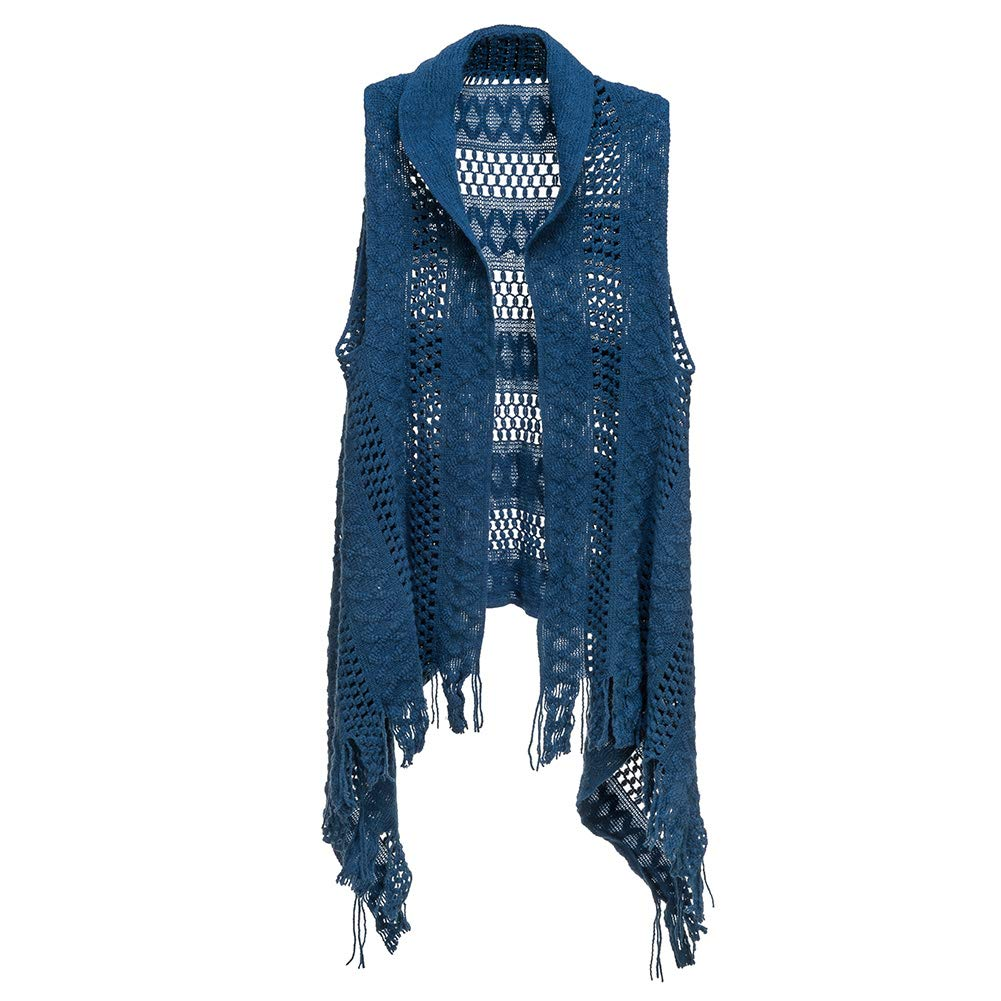 Purple Box Jewelry Howard's Knit Sweater Vest w/Fringe - Royal