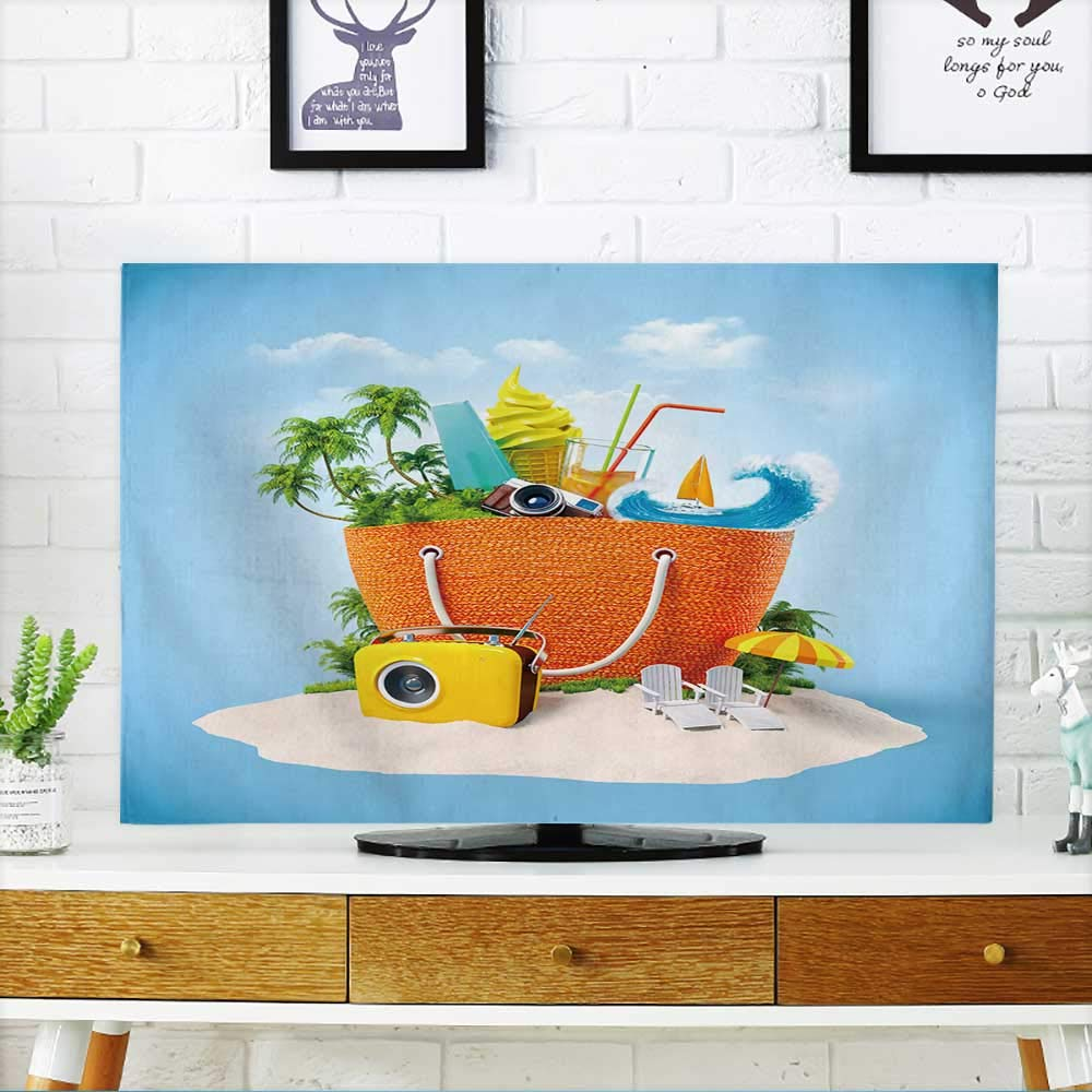PRUNUS Television Protector Beach Bag with with Tropical Island Inside on Sand Unusual Travel Background Television Protector W19 x H30 INCH/TV 32''