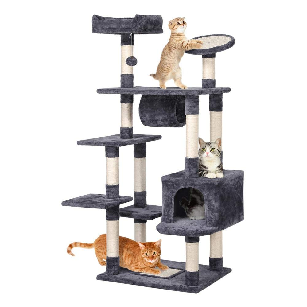 Yaheetech 62-inch Cat Tree Condo with Scratching Post Plush Perch and Tunnel, Cat Tower Furniture Gray by Yaheetech