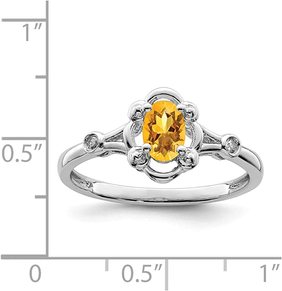 .02 cttw. Solid 925 Sterling Silver Simulated Birthstone Golden Yellow Orange Simulated Citrine /& Diamond Engagement Wedding Ring 2mm