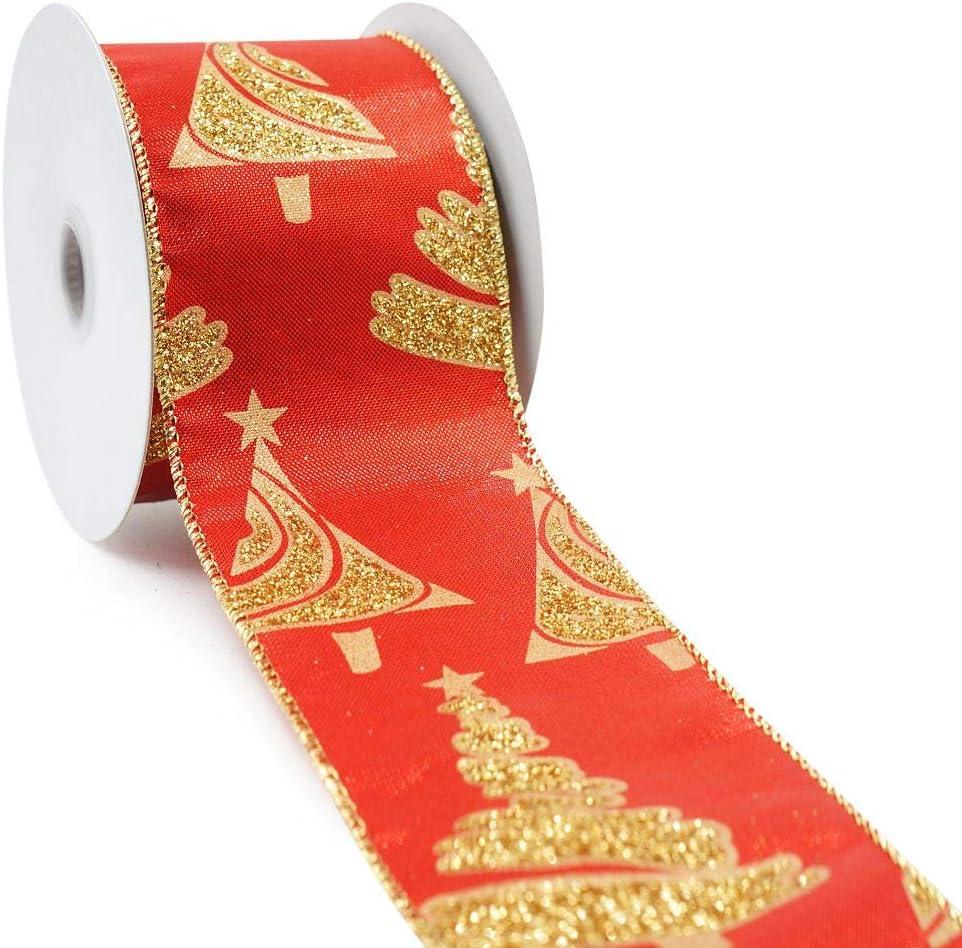 "NEW Burlap Ribbon GOLD METALLIC SNOWFLAKE Holiday Ribbon 2.5/"" Wide Wire 10 Yards"