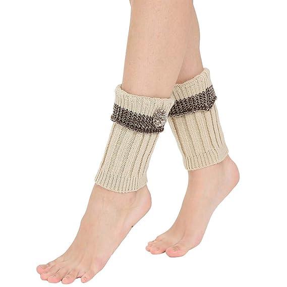 BHYDRY Calentadores de invierno para mujer Calientes de punto Calzas con croché Leggings Slouch Boot Calcetines: Amazon.es: Ropa y accesorios