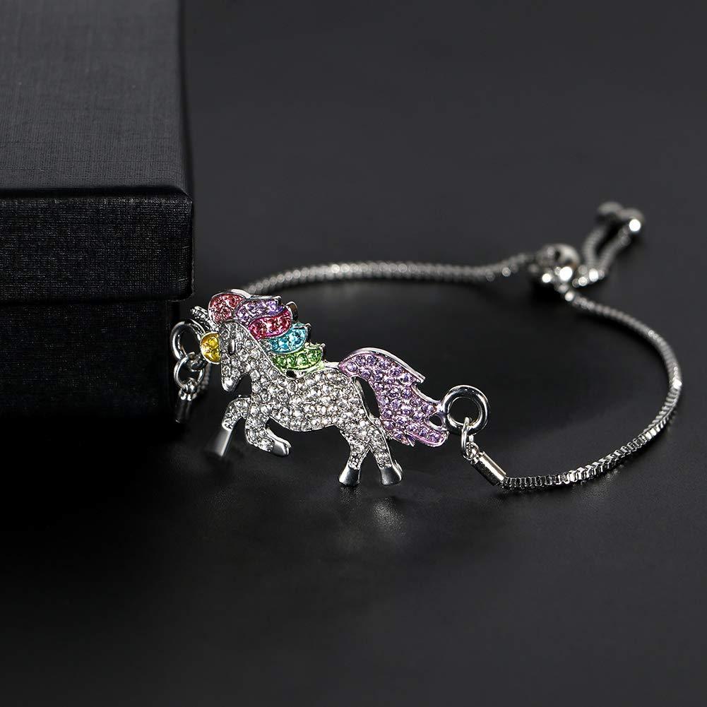 VAMEI Unicorn Jewellery with Unicorn Pendant Necklace Unicorn Bracelets Rainbow Crystal Unicorn Necklace Bracelets for Women Girls Valentines Gifts B