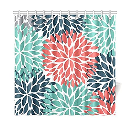 InterestPrint Dahlia Pinnata Flower Teal Coral Gray House Decor Shower Curtain For Bathroom Decorative