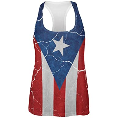 78e5f55b7456d Distressed Puerto Rican Flag All Over Womens Work Out Tank Top Multi SM