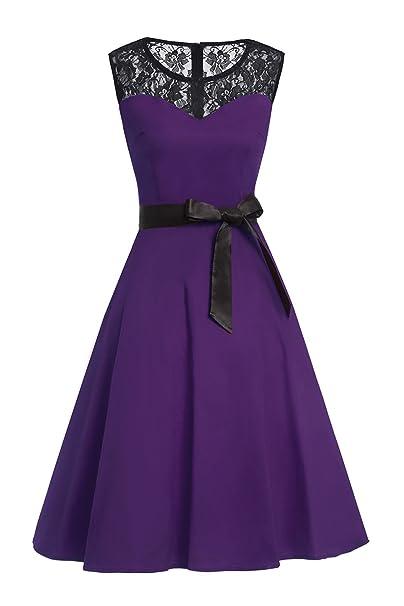 Babyonlinedress Vestido Morado de Mujer de Fiesta Estilo Vintage A line Para Bodas Diseño Clásico Y