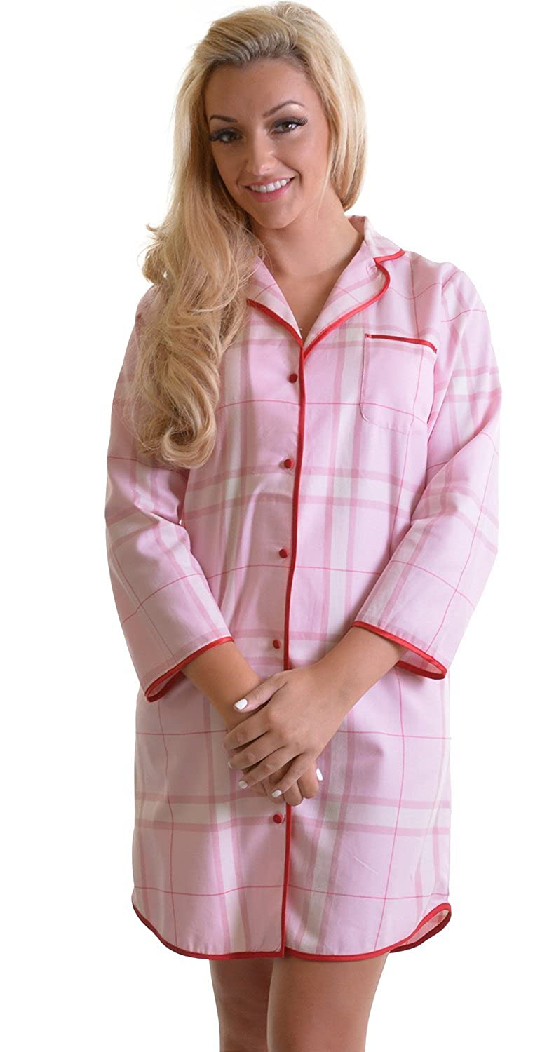 Ladies Soft 100% Quality Brushed Cotton Pink Check Nightshirt with Red Satin Trim and Button Front