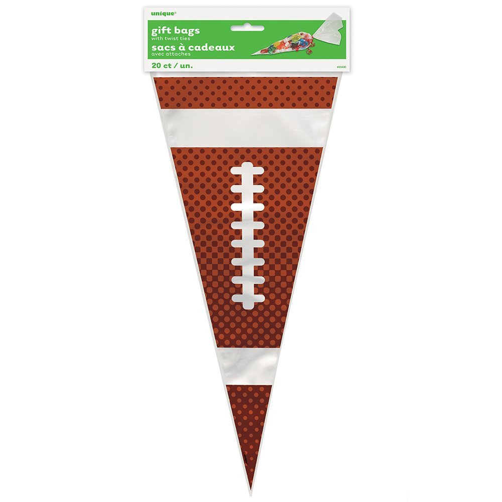 40 Football Cello Gift Bags Cone Shaped Superbowl Party Sport Event Favor Sacs