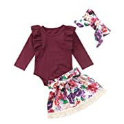 Infant Baby Girls Floral Outfit Set Blessed Print Romper Floral Ruffle Shorts Clothes with Headband (Wine Red, 6-12 Months)