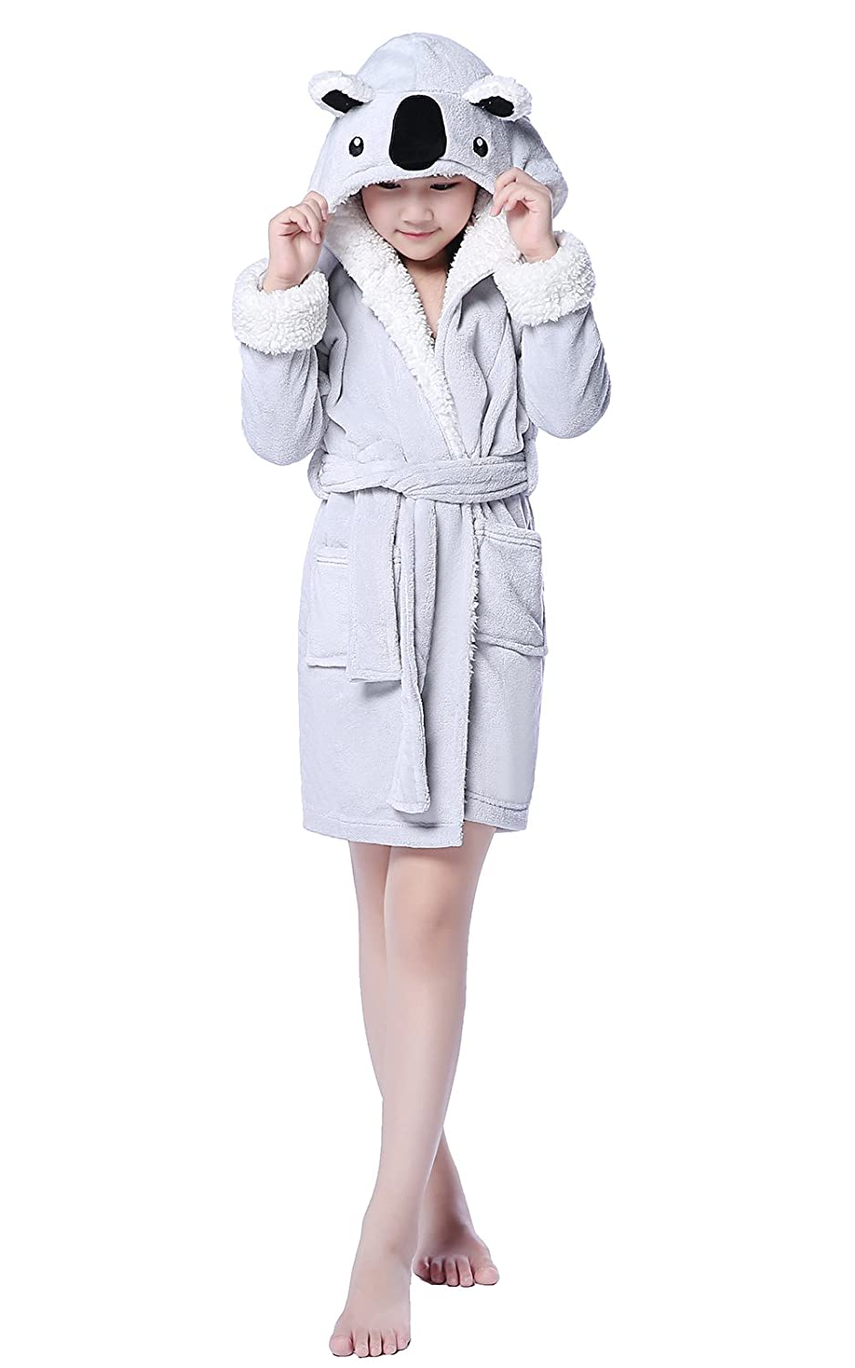 NEWCOSPLAY Children Grey Koala Bathrobe Robe Cosplay Hooded Pajamas 8-10Y, Grey Koala