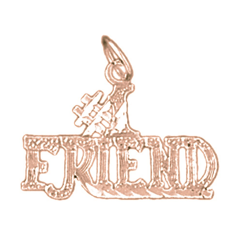 14K Rose Gold-plated 925 Silver #1 Friend Pendant with 16 Necklace Jewels Obsession #1 Friend Necklace