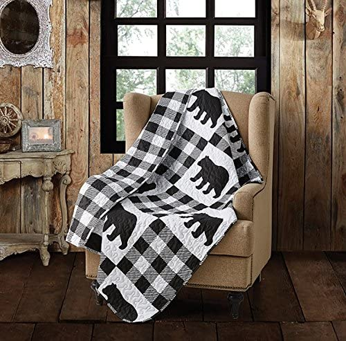 Virah Bella Buffalo Plaid Rustic Black Bear Quilt Throw Blanket