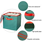 IC ICLOVER Holiday Ornaments Storage Box, Christmas Decorations Ball Containers with lid & Adjustable 64 Compartment Cube Organizer Detachable Dividers for Home Office Xmas Wedding 12x12x12 Inch,Green