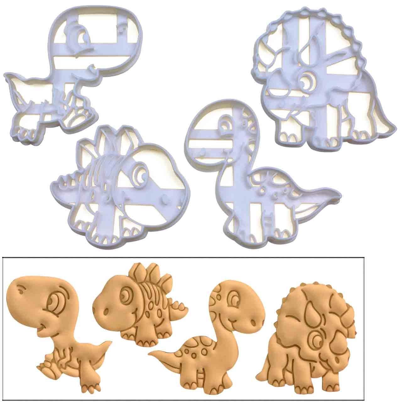 SET of 4 Baby Dinosaur cookie cutters (Tyrannosaurus Rex, Stegosaurus, Triceratops, & Brachiosaurus), 4 pcs, Ideal gift for dinosaur theme parties