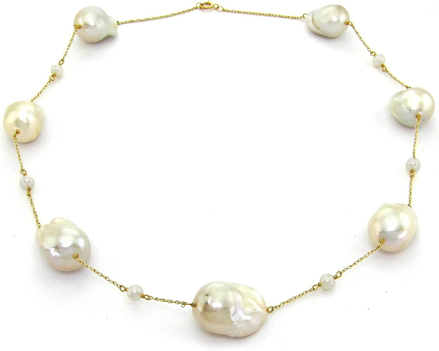 pearl necklace elegant necklace 14k gold 14k Yellow Gold Diamond Cut Freshwater Cultured Pearl Station Necklace cultured pearl