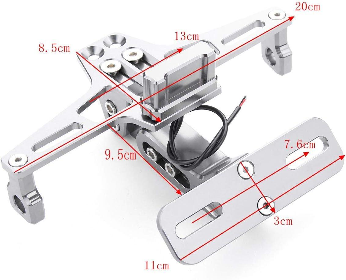 PQZATX CNC Rahmen Motorrad Lizenz Kennzeichen Halter Halterung Mit LED Licht Einstellbar F/ür Bws R25 R3 Mt03 Msx
