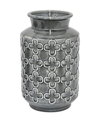 Amazon Three Hands Clover Pattern Ceramic Vase Grey Home