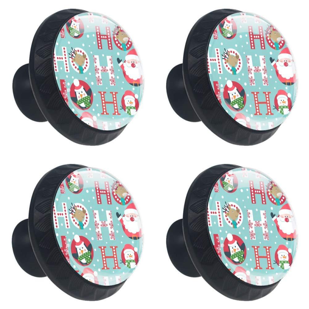 Idealiy Christmas Santa Deer Penguin and Snowman Drawer Pulls Handles Cabinet Dressing Table Dresser Knob Pull Handle with Screws 4pcs