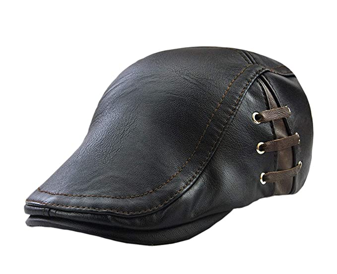 537c707ab74c AZfasci Men's Vintage Newsboy Cap PU Leather Ivy Flat Gatsby Hat Winter  Golf Driving Hats Beret Caps (Black) at Amazon Men's Clothing store:
