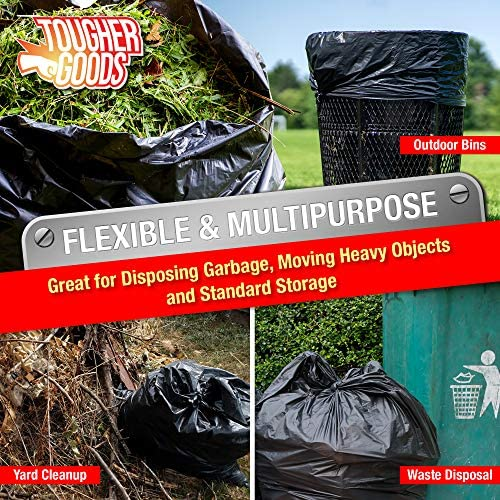 """Heavy Duty 100 PK Black Trash Bags - 55 Gallon Black Bags for Garbage, Storage - 1.2 Mil Thick, 35""""Wx55""""H Industrial Grade Trash Bags for Construction, Yard Work, Commercial Use - by Tougher Goods"""