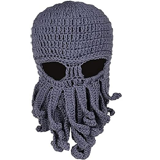 0d359caf5a6 Plage Funny Tentacle Octopus Hat Beard Hat Beanie Hat Handmade Knit Hat  Winter Warm for Men