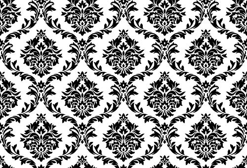 Blue Damask Photo Card - GoEoo Vintage White Black Damask Wall 7x5ft Vinyl Photography Background Plain Style Personal Artistic Portrait Wedding Shoot Backdrop Indoor Decors Wallpaper Studio Props Nostalgia