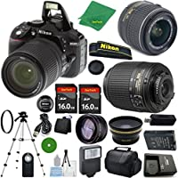 Nikon D5300 - International Version (No Warranty), 18-55mm f/3.5-5.6 DX VR, Nikon 55-200mm f4-5.6G ED DX Nikkor, 2pcs 16GB Memory, Case, Wide Angle, Telephoto, Flash