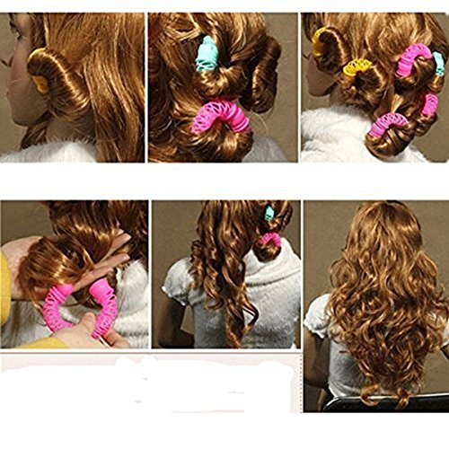 Pinovk 12pcs Magic Doughnut Donut Sticks Rollers Circle Spiral Plastic Hair Curly Curler Curl Roll Ringlets Wave Hairdressing Care Hairstyle Maker DIY Hair Styling Tool