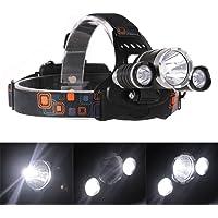 GS Super brillante lámpara de cabeza Headlamp 3XM-L T6faro LED 4Modos Impermeable de alta potencia Ciclismo linterna para Camping al aire última intervensión/Senderismo/Caza/Pesca
