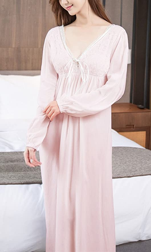 Asherbaby Women s Long Sleeve Vintage Lace V Neck Nightgown Cotton Sleepwear   Amazon.in  Clothing   Accessories f2d9eceeb