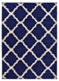 Navy Blue Trellis Shag Area Rug Rugs Shaggy Collection (Navy Blue, 6'7''x9'6'')