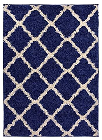 Navy Blue Trellis Shag Area Rug Rugs Shaggy Collection (Navy Blue, 6'7