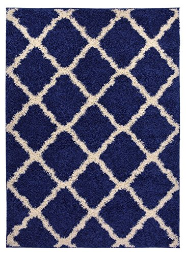 Navy Blue Trellis Shag Area Rug Rugs Shaggy Collection (Navy Blue, 3'3″x5′) Review