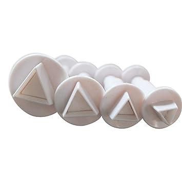 Juego de 4 cortadores de galletas rectangulares de plástico con forma de geométrico para decoración de fondant, molde hexagonal para galletas, glaseado, ...