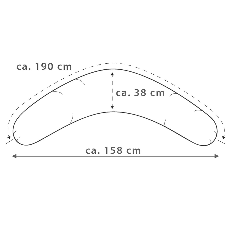Polyester Hohlfaser F/üllung Das Original Theraline Stillkissen 190 cm inklusive Bezug Jersey elfenbein