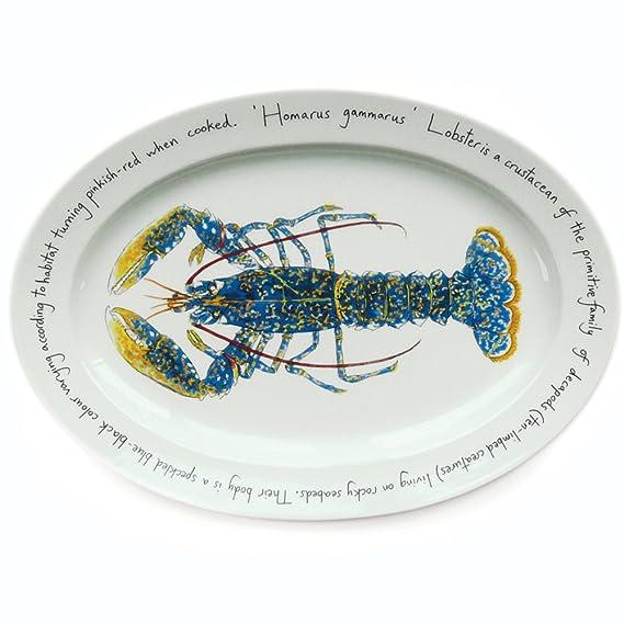 Jersey Pottery – Plato Ovalado Grande – salmón Saltando, Color ...