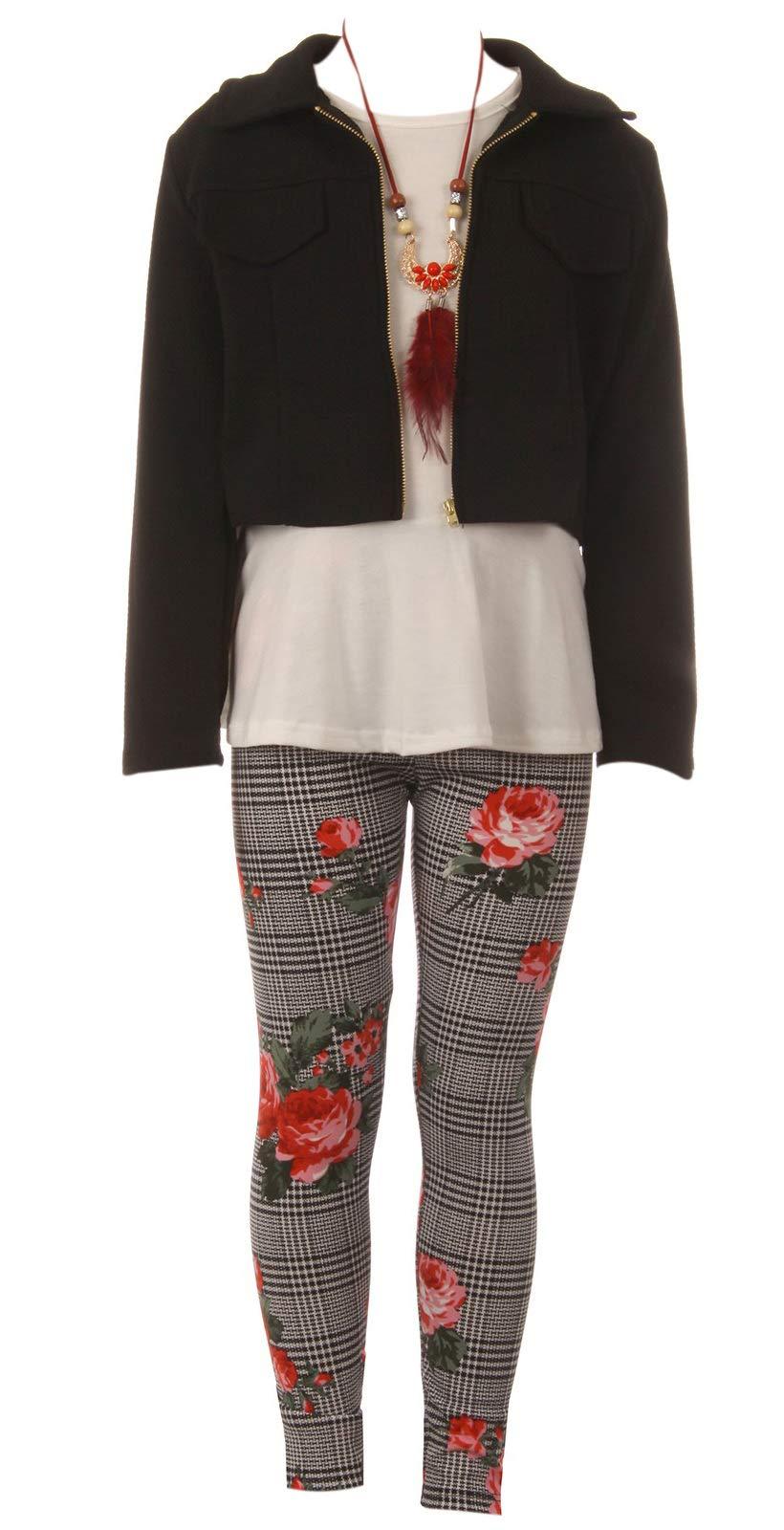 Big Girls 4 Pieces Girl Pant Set Long Sleeve Jacket Necklace Floral Plaid Pant Tank Top White Coral 12 (J21KS41)