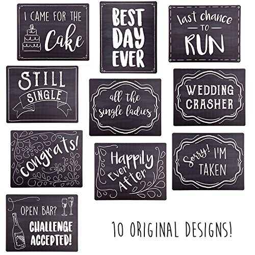 Wedding Photo Booth Sign Props - Set of 5 - Double Sided, Chalkboard Style Hard Plastic Prop Signs (Sign Booth Photo)