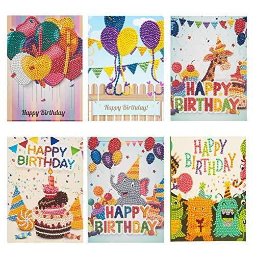 5D Artist Diamond Painting Kit Birthday Cards for Kids Diamond Dotz Kids Diamond Gift Card (Birthday Card 6pcs)