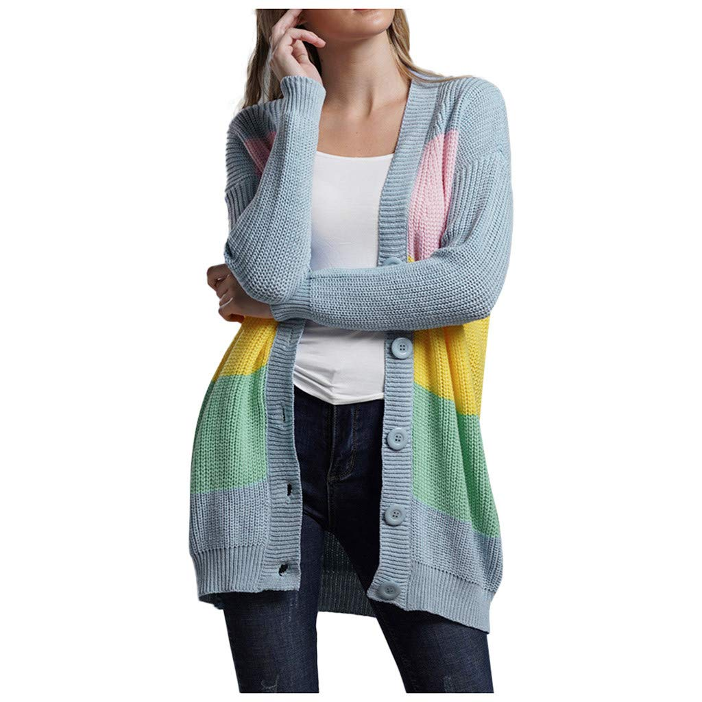 Hurrybuy Womens Color Block Rainbow Striped Cardigan Long Sleeve Open Front Knit Sweater Cardigan by Hurrybuy Women's Cardigans