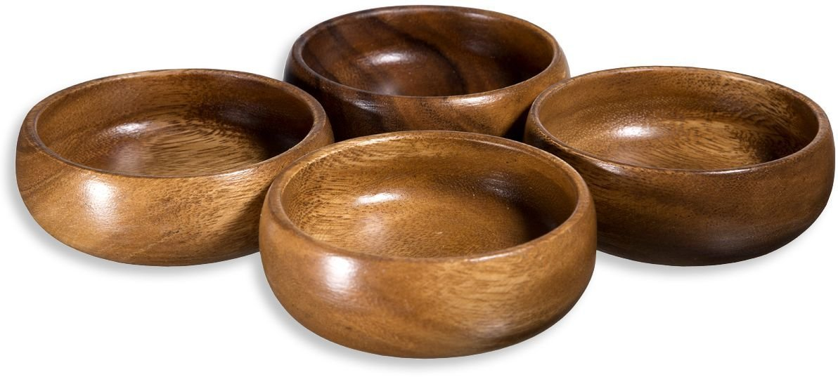 Saverite Acacia Wood Hand-Carved Set of 4 Calabash Bowls 4'' And 4 Mini Wooden Small Spoons