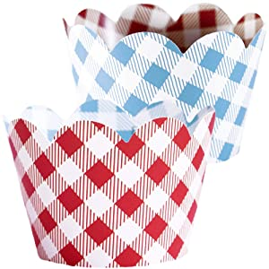 Red Checkered Cupcake Wrappers - 36 | Farm Animals Birthday Party Supplies, I Do BBQ Decorations, Baby Q Shower Favor Bag Holder, Country Western Themed Cup Cakes, Cowboy B-Day, Blue Gingham Wraps