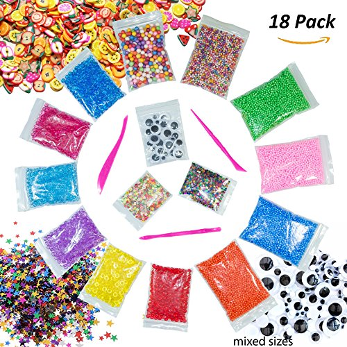 Rainbow Slime Beads Foam Balls Supplies - Diy Craft Making Kit 18 Pack Fishbowl Beads Styrofoam Floam Balls Fruit Slices Tools for Homemade Crunchy Slime Filling Doll Vase Nail Art Ornament By MxM-E (Rainbow Foam)